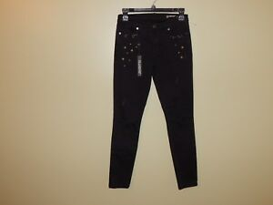 NWT Blank NYC Intro Black Destroyed Star Studded Pierced Skinny Jeans sz 26 New