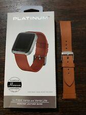 Platinum- Horween Leather Watch Band for Fitbit Versa, Fitbit Versa Lite USED!
