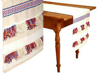 "Anthropologie Fringed Cortes Table Runner 16"" X 90"" Ivory Red Blue Mom Gift NWT"