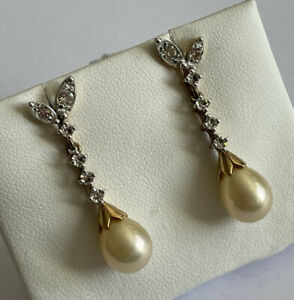 Vintage 925 Silver Gilt Simulated Pearl & Cubic Zirconia Drop Dangle Earrings