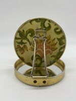 Vintage round mirror floral tapestry look design color purse compact size