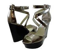 Michael Kors Womens Gabriella Wedge Peep Toe Buckle Ankle Strap Platforms Heels