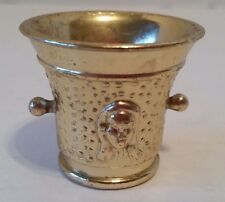 Vintage Miniature Mortar Made in England Stamped 756179 Brass Colored Metal