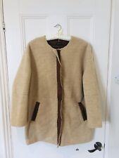 Topshop Oversized Tan Camel Faux Shearling Teddybear Fleece Coat Sz 16 Bloggers