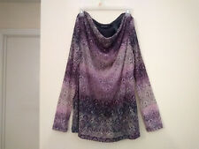 Axcess brand size XL long sleeve draped neck blouse purple grey fall color print