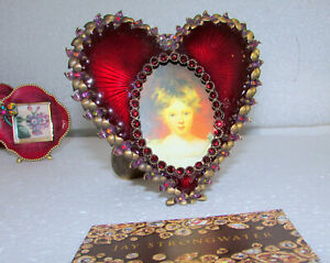 JAY STRONGWATER DOMINIQUE RUBY HEART & FLOWER JEWELED SWAROVSKI CRYSTAL FRAME