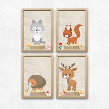 Wald Tiere Wand Bild Set Druck Wolf Eichhörnchen Igel Hirsch Kinderzimmer Dekor