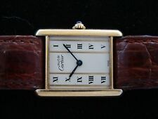 VTGE CARTIER TANK SOLID GOLD THIN BARS  DIAL MEN WATCH. 80s. FULLY ORIGINAL
