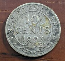 1903 Newfoundland Canada 10 Cent Silver Dime Canadian Foreign Coin Lot D66