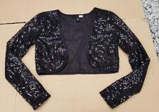 Entièrement neuf sans étiquette divisé par h&m Sequin Noir Bolero Shrug Jacket Taille 8