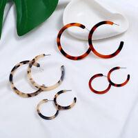 Big C Shape Leopard Print Red Drop Acrylic Earrings Women Ear Studs Fashion New