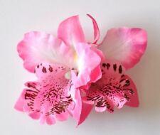 "3.5"" Light Pink Double Cymbidium Orchid Flower Hair Clip Luau Hawaiian Wedding"