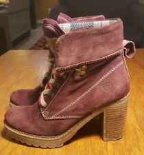 Tamaris Ankle Boots 38 US 5.5 M PLUM Suade Lace Up NEW W/O TAGS $145