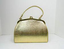Vintage 50's Shiny Metallic Gold Kelly Style Handbag Purse