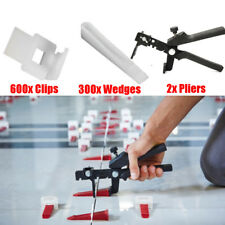 600x Clips + 300x Wedges + 2x Pliers Kit Tile Leveling Flooring Spacer System