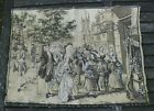 """Antique Victorian Tapestry 24""""x32"""" Townspeople Town Square Woven Fringed NICE!"""
