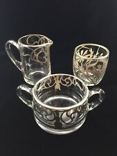 Vintage Art Deco Glass Sugar, Creamer and Glass with Sterling Silver Overlay