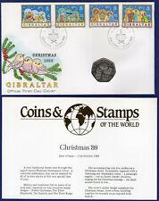 Gibraltar, 1989 Christmas 50p Cover, 50 Pence, FDC, Choir Boy (Ref. t3318)