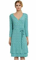 Verlina Women's Vibrant Blue Green A-Line V-Neck Dress w/Slimming Waist Belt