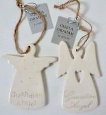 Set di 2 Gisela Graham Ceramica Angelo Custode Nuovo Bambino/battesimo regali