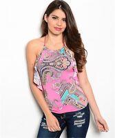 Women Resort Casual Summer Fashion Halter Pink Paisley Top Blouse Shirt Stretch
