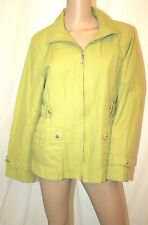 GALLERY SHORT COTTON TRENCH ZIP UP RAIN COAT LONG SLEEVE LIME JACKET M