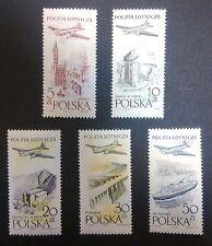 POLAND STAMPS MNH Fi935-9 ScC46-51 Mi1080-84 - Air Mail, 1958, **