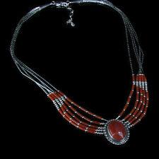 5 Strand .925 Liquid Sterling Silver Genuine Red Coral Concho Necklace