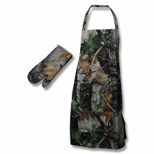 CAMO APRON & OVEN MITT SET Camoflauge BBQ Camping Cooking Baking HEAT RESISTANT