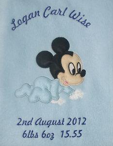 Disney Baby Mickey Mouse Luxury Personalised Applique Super Soft Fleece Blanket