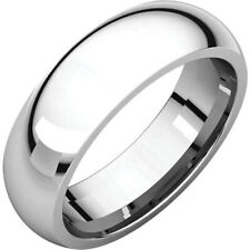 6mm 14K Solid White Gold Plain Dome Half Round Comfort Fit Wedding Band Ring