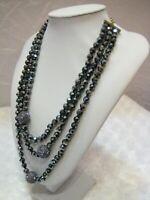 "HEIDI DAUS ""Delightful"" (Tanzanite) Triple Strand Beaded Necklace (Orig.$179.95)"