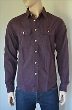 NEW Abercrombie & Fitch Chamois Military Style Brushed Flannel Shirt Purple XL