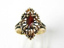 Antique 10k Yellow Gold Natural Garnet Filigree Ladies Ring 2.6g