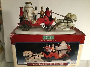 LEMAX  Off To The Fire  Village Collection Christmas Firefighters Truck