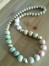 Chunky Costume Jewellery graduated wood bead necklace pastel red green, gold 17""
