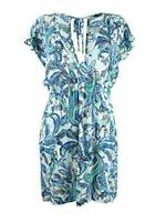 MSRP $106 LAUREN RALPH LAUREN Fiesta Paisley Printed Tunic Cover-Up Blue SM