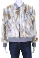 Cupcakes and Cashmere Womens Sia Faux Fur Bomber Jacket Oatmeal Grey Size Small