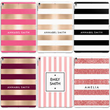 PERSONALISED NAME/INITIALS/TEXT CUSTOM STRIPED HARD CASE COVER FOR APPLE IPAD