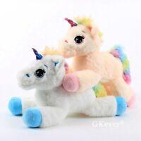 Fluffy Rainbow Unicorn Plush Toy Soft Stuffed Animals Cute 14'' Pillow Kids Gift