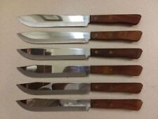Six Vintage Robinson Stainless Kitchen Knives Never Used Made in USA Signed