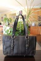 COACH BLACK CHELSEA LEATHER ZIP TOTE BAG #12339 (P800)