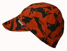 Comeaux Caps Welder Welding Hat Cotton Red mud flap SILHOUETTE Black SIZE 7 3/4
