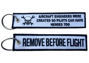 Aircraft Engineers Remove Before Flight Key Ring Luggage Tag
