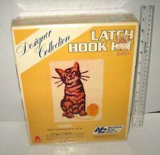 vtg Sealed National Yarn Crafts Latch Hook Kit R548S Tabby Cat 20x27 Fun Gift  00006000