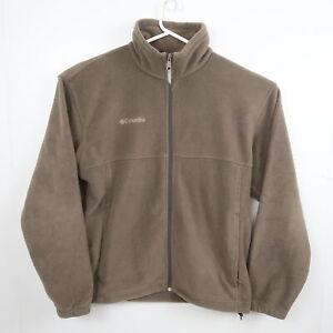Columbia Mens Jacket Size L Brown Full Zip Pockets Mock Neck Fleece Coat