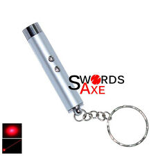 Laser Pointer Pen Led Light Keychain (2 In 1) Silver Flashlight Key Chain