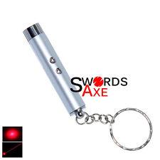 Laser Pointer Pen LED Light Keychain (2 In 1) Silver Flashlight Key Chain