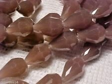 VTG 50 MAUVE PURPLE FACETED GLASS DROP BEADS 12mm  #101314l