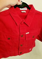 Vintage GUESS?/Georges Marciano Red Denim Cropped Jacket-Button Front/Size Small